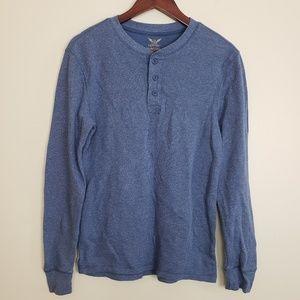 Faded Glory Blue Long Sleeve Thermal Tee Shirt